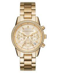 MICHAEL Michael Kors   Metallic Ritz Chronograph Bracelet Watch   Lyst