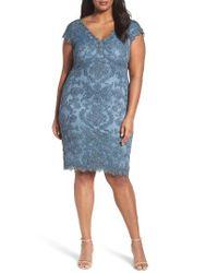 Tadashi Shoji | Blue Lace Sheath Dress | Lyst