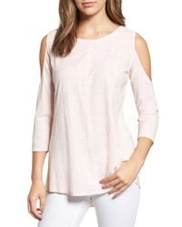 Two By Vince Camuto - Pink Cold Shoulder Slub Cotton Top - Lyst
