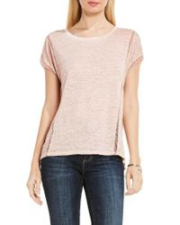 Two By Vince Camuto | Pink Linen Tee | Lyst