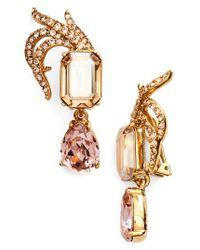 Oscar de la Renta | Metallic Pave Swarovski Crystal Leaf Clip Earrings | Lyst