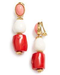 Oscar de la Renta | Red Semiprecious Stone Bead Clip Earrings | Lyst