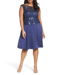 Adrianna Papell | Blue Lace Overlay Cocktail Dress | Lyst