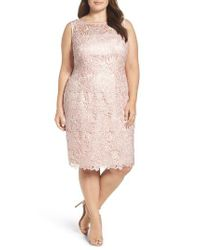 Adrianna Papell | Pink Sequin Guipure Lace Sheath Dress | Lyst