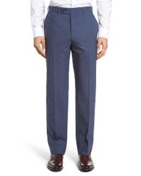 JB Britches | Blue Torino Flat Front Check Wool Trousers for Men | Lyst