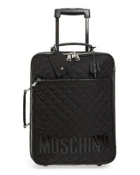 Moschino - Black Quilted Rolling Suitcase - Lyst
