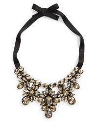 TOPSHOP - Black Crystal Statement Necklace - Lyst