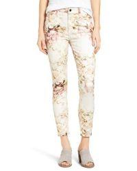 Jen7   Natural Floral Print Stretch Ankle Skinny Jeans   Lyst