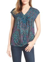 Lucky Brand   Blue Paisley Top   Lyst