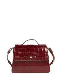 Elizabeth and James | Red Mini Eloise Croc Embossed Leather Satchel | Lyst