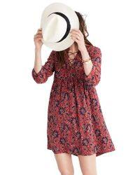 Madewell | Red Silk Babydoll Dress | Lyst