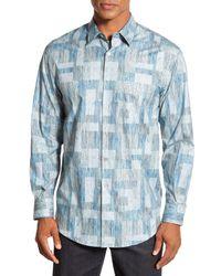 Tori Richard Gray 'parquet' Regular Fit Long Sleeve Paisley Sport Shirt for men