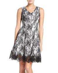 Chetta B | Black Lace Fit & Flare Dress | Lyst