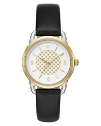Kate Spade | Black New York Boathouse Leather Strap Watch | Lyst