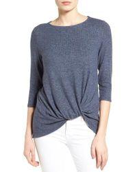 Gibson | Blue Twist Front Cozy Fleece Pullover | Lyst
