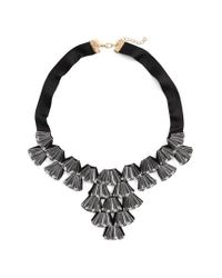 TOPSHOP - Black Crystal Fan Collar Necklace - Lyst