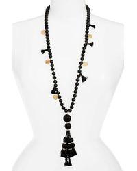 Kate Spade | Black Pretty Poms Tassel Necklace | Lyst