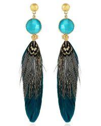 Gas Bijoux | Multicolor Serti Feather Drop Earrings | Lyst