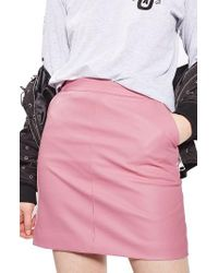 TOPSHOP | Pink Faux Leather Pencil Skirt | Lyst