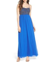 Adrianna Papell | Blue Beaded Mesh Gown | Lyst