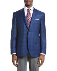 Canali | Blue Classic Fit Check Wool Sport Coat for Men | Lyst