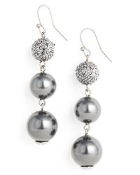 St. John | Metallic Swarovski Imitation Pearl Drop Earrings | Lyst