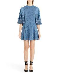 Valentino | Blue Jungle Print Silk Flutter Sleeve Dress | Lyst