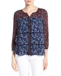 Lucky Brand | Blue Mix Floral Print Top | Lyst
