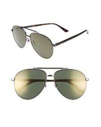 Gucci | Metallic 61mm Aviator Sunglasses | Lyst