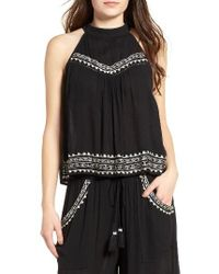 Band Of Gypsies | Black Embroidered Top | Lyst