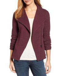 Caslon - Purple Caslon Knit Moto Jacket - Lyst