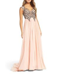 Mac Duggal | Pink Beaded Gown | Lyst