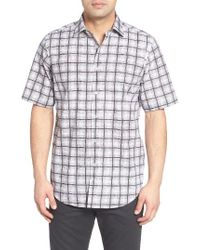 Bugatchi | Black Classic Fit Check Print Sport Shirt for Men | Lyst