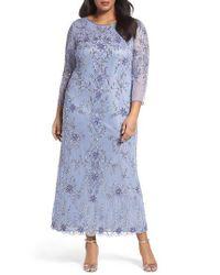 Pisarro Nights - Purple Floral Motif Embellished Long Dress - Lyst