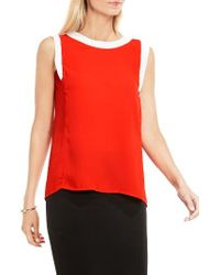 Vince Camuto | Red Colorblock Sleeveless Top | Lyst