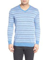 Bugatchi   Blue Stripe Silk Blend Sweater for Men   Lyst