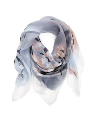 Vince Camuto   Gray Sakura Blossom Silk Scarf   Lyst