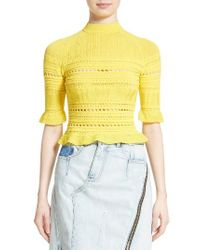 3.1 Phillip Lim | Yellow Pointelle Lace Raglan Tee | Lyst
