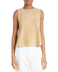 VINCE | Natural Crop Suede Shell | Lyst