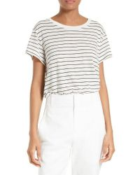VINCE | White Stripe Relaxed Tee | Lyst