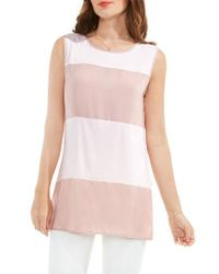 Vince Camuto   Pink Mixed Media Tank   Lyst