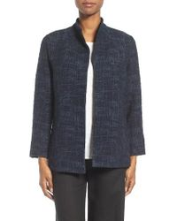 Eileen Fisher | Blue Crosshatch Jacquard Jacket | Lyst
