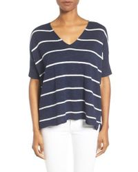 Eileen Fisher | Blue Organic Linen & Cotton Stripe Sweater | Lyst