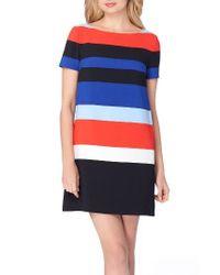 Tahari | Blue Stripe Shift Dress | Lyst