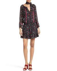 Joie   Black Grover Floral Silk Minidress   Lyst