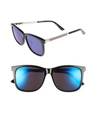 bc86252195e Lyst - Gucci Retro Web 56mm Sunglasses in Blue for Men