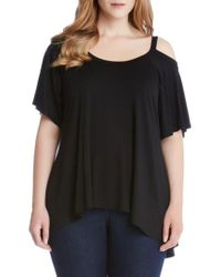Karen Kane - Black Flutter Cold Shoulder Top - Lyst