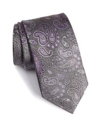 David Donahue | Gray Paisley Silk Tie for Men | Lyst