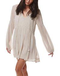 Free People | Gray Lini Babydoll Dress | Lyst