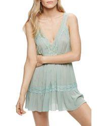 Free People | Green Look Of Love Slipdress | Lyst